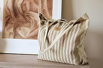 Veľké tašky - Lina (ľanová taška) béžová - 13351333_