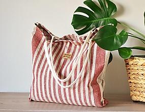 Veľké tašky - Lina (ľanová taška) bordová - 13351381_