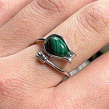 Prstene - Tulip Malachite Ag925 Ring  / Strieborný prsteň s malachitom - 13350476_