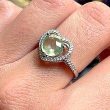 Prstene - Heart Prehnite Zircone Ring Ag925 / Strieborný prsteň s prehnitom a zirkonikmi - 13350538_