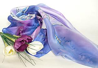 Šatky - Hedvábný šátek modro-fialový. - 13350774_