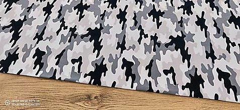 Textil - Teplákovina - Maskáč šedo čierny- cena za 10 centimetrov - 13349419_