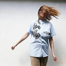 Košele - upcyklovaná košeľa, listy a ruky - 13351708_