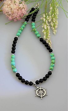 Náhrdelníky - pánsky náhrdelník z ónyxu a tyrkenitu - 13352419_