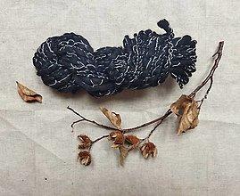 Materiál ručne robený - Špirálová čiernobiela, merino-bavlna - 13351228_