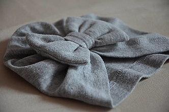 Čiapky - Čiapka turban- novorodenecká (Sivá 0-1 mesiac) - 13351873_