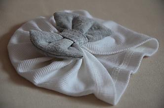 Čiapky - Čiapka turban- novorodenecká (Biela 0-1 mesiac) - 13351883_