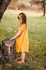 Detské oblečenie - Vzdušné šaty 100% ĽAN mango - 13352877_