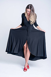 Šaty - Zavinovacie šaty čierne 3/4 rukáv - 13351913_