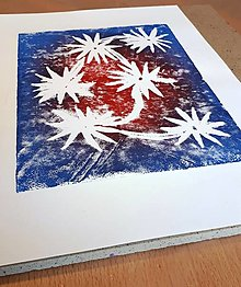 Dobrý obchod - Hviezdne kvety - linoryt od Katky - 13349913_