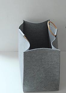 Košíky - Koš filcový, drevené úchytky - 13350590_