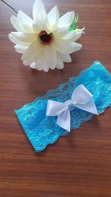 Bielizeň/Plavky - Jednoduchý tyrkysový svadobný podväzok - mašlička - 13352423_