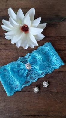 Bielizeň/Plavky - Jednoduchý tyrkysový svadobný podväzok - štras - 13352437_