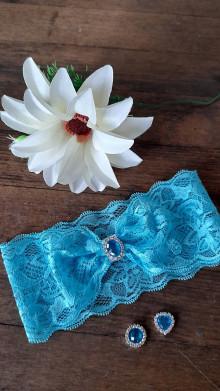 Bielizeň/Plavky - Jednoduchý tyrkysový svadobný podväzok - štras - 13352442_