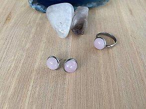 Sady šperkov - náušnice z Ruženínu-chirurgická oceľ, prsteň s Ruženínom - 13349640_