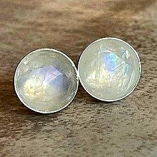 Náušnice - Faceted Moonstone Ag925 Stud Earrings / Náušnice s adulárom - mesačným kameňom fazetovaným AAA Ag925 - 13354410_