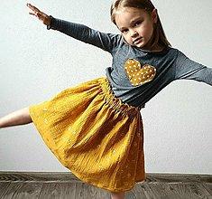 """Detské oblečenie - Detská sukňa """"SUNNY GIRL"""" - žltá so zlatou potlačou púpav - 13354698_"""