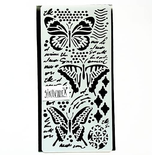 Šablóna Stamperia - 12x25 cm - motýle, písmo