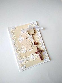 Papiernictvo - pohľadnica 1. sväté prijímanie pre chlapca s darčekom - 13354593_