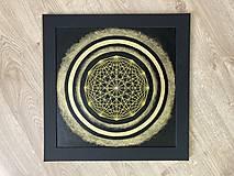 Obrazy - Netradičná čierno-zlatá mandala - 13354050_