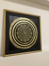 Obrazy - Netradičná čierno-zlatá mandala - 13354052_