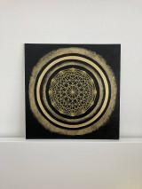 Obrazy - Netradičná čierno-zlatá mandala - 13354084_