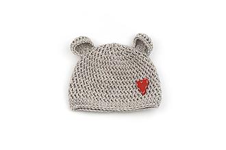 Detské čiapky - Béžová čiapka macko srdiečko zimná EXTRA FINE - 13355074_