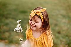 Detské doplnky - čelenka 100% ĽAN mango - 13353154_