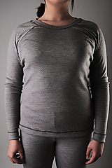 Tričká - Dámsky merino nátelník sivý (raglánový strih) - 13355537_