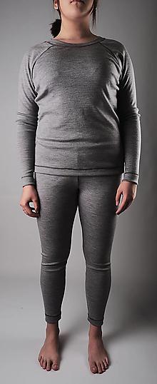 Tričká - Dámsky merino komplet sivý (raglánový strih) - 13355554_
