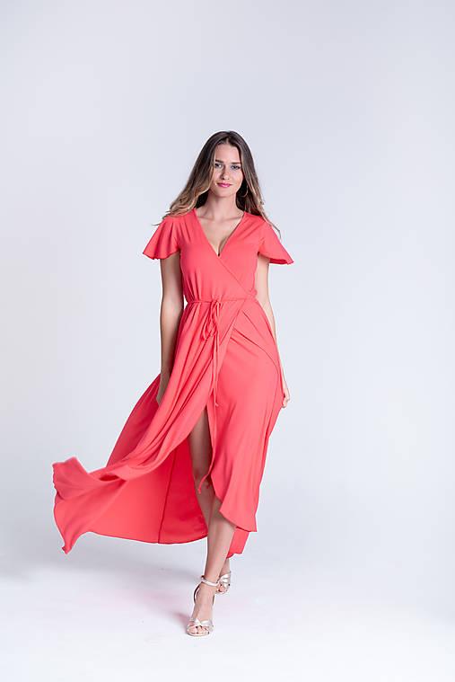 Šaty - Zavinovacie šaty KORAL krátky rukáv - 13354262_