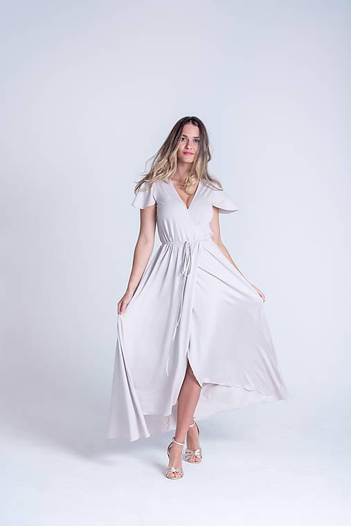 Šaty - Zavinovacie šaty STONE krátky rukáv - 13354283_