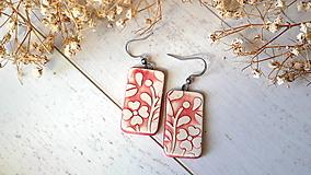 Náušnice - keramické náušnice č.387_ červené kvety - 13357708_