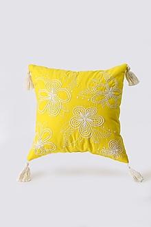 Úžitkový textil - Vankúš žltý ručne vyšívaný - 13358951_