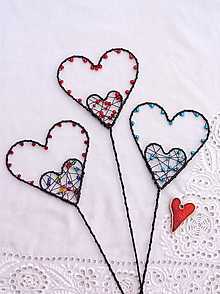 Dekorácie - farby srdca... zápich - 13359102_