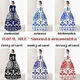 Šaty - FLORAL FOLK -  šaty v dĺžke midi s vačkami (mandarínka s bielou) - 13357056_