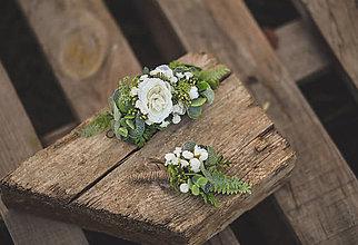 Ozdoby do vlasov - Set svadobný polvenček a pierko pre ženícha - 13357581_