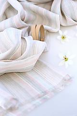 Šatky - Jemná pásikavá ľanová šatka s remienkom - 13358841_