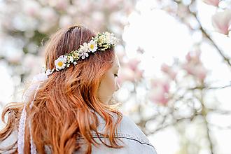 """Ozdoby do vlasov - Kvetinový venček """"tajomstvá margarétok"""" - 13358889_"""