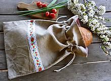 Úžitkový textil - Ľanové vrecko na chlieb - stuha s makmi - 13356972_