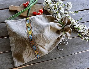 Úžitkový textil - Vrecko na chlieb - stuha čierna s kevetmi - 13356894_