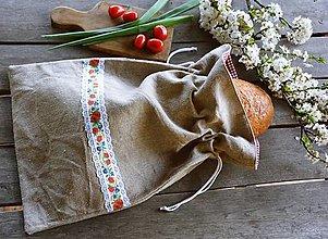 Úžitkový textil - Vrecko na chlieb - stuha s makmi - 13356972_