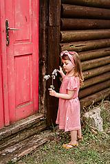 Detské oblečenie - Vzdušné šaty 100% ĽAN pink - 13356651_
