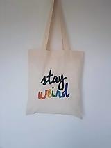 Nákupné tašky - •ručne maľovaná plátená taška - WEIRD• - 13359667_