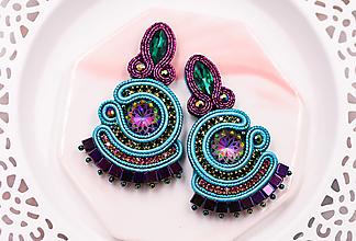 Náušnice - Soutache náušnice vo farbách páva /peacock earrings - 13357207_