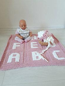 Textil - Ružová detská deka - ABECEDA - 13357047_
