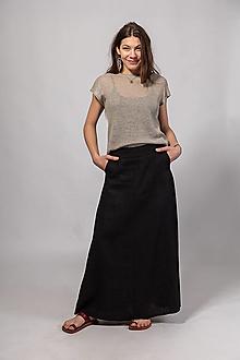 Sukne - Ľanová sukňa Alica čierna - 13361155_
