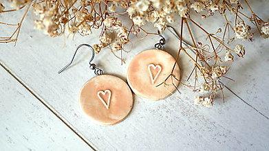 Náušnice - keramické náušnice č.390_ staroružové srdce - 13360669_