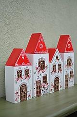 Dekorácie - Domčeky s červenou strechou a kvietkami - 13362420_