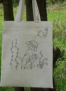 Nákupné tašky - Taška zo surovej bavlny Kreslený vtáčik - 13361673_